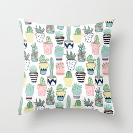 Cute Cacti in Pots Throw Pillow