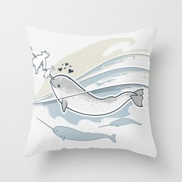 The Friendly Narwhal Throw Pillow