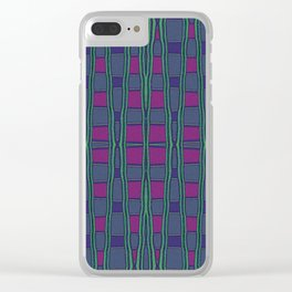 Green, Red and Purple Square Geometric Clear iPhone Case