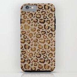 Brown Glitter Leopard Print Pattern iPhone Case