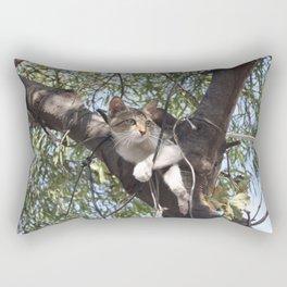 Bi-Color Tabby Cat In Tree Rectangular Pillow