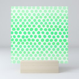 Light Apple Green Dots Ombre Abstract Mini Art Print