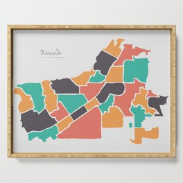 Riverside California Map with neighborhoods and modern round shapes Serving Tray