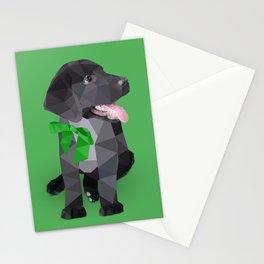 Low Polygon Black Labrador - Green Bow Stationery Cards
