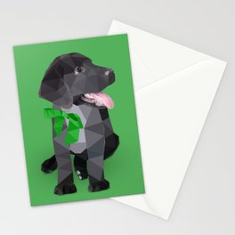 Low Polygon Black Labrador - Green Bow Stationery Cards