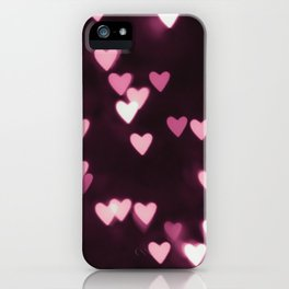 Romantic Pink Bokeh Hearts iPhone Case
