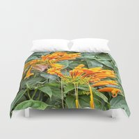 trumpet Duvet Covers featuring Orange trumpet flower by Wendy Townrow