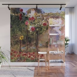 Classical Masterpiece 'The Rose Garden and Red Poppies' by Frederick Childe Hassam Wall Mural