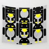 android Wall Tapestries featuring linux Tux penguin android  by Sofia Youshi