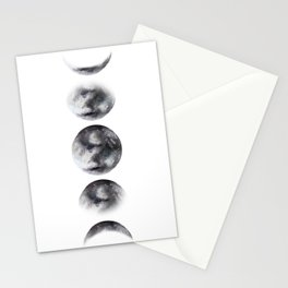 Moon phases watercolor painting Stationery Cards