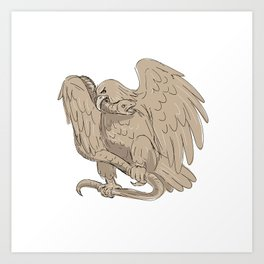 Serpent in Clutches of Eagle Drawing Art Print