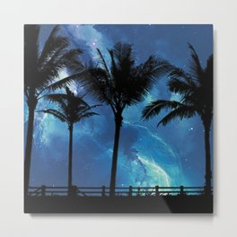 Palm Trees at Night Metal Print