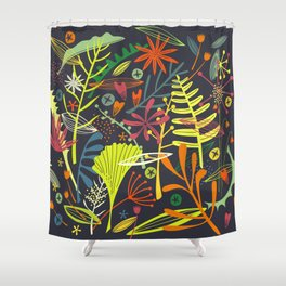 Tropical Leaves and Flowers at Night Shower Curtain