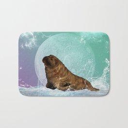 Cute  walrus with water splash Bath Mat