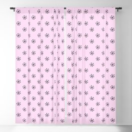 Black on Pink Lace Pink Snowflakes Blackout Curtain