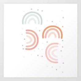 Flat Pastel Rainbow Art Print