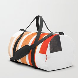 Orange Minimalist Mid Century Modern Inca Watercolor Stripes Staggered Symmetrical Pattern Duffle Bag