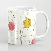 mid century Mugs featuring Mid-Century Holiday Season by There is no spoon