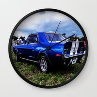 mustang Wall Clocks featuring '68 Mustang by Catherine Doolan