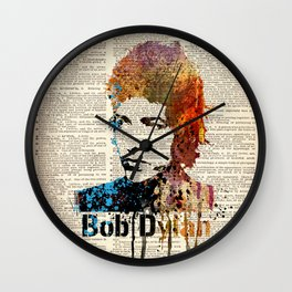 BOB DYLAN #on dictionary page Wall Clock