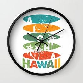 Hawaiian Surfboards Retro Aloha Hawaii Wall Clock