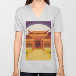 full moon vector japanese temple Unisex V-Neck