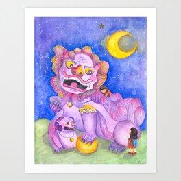 Foo Dog and Girls Art Print