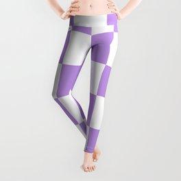 Large Checkered - White and Light Violet Leggings