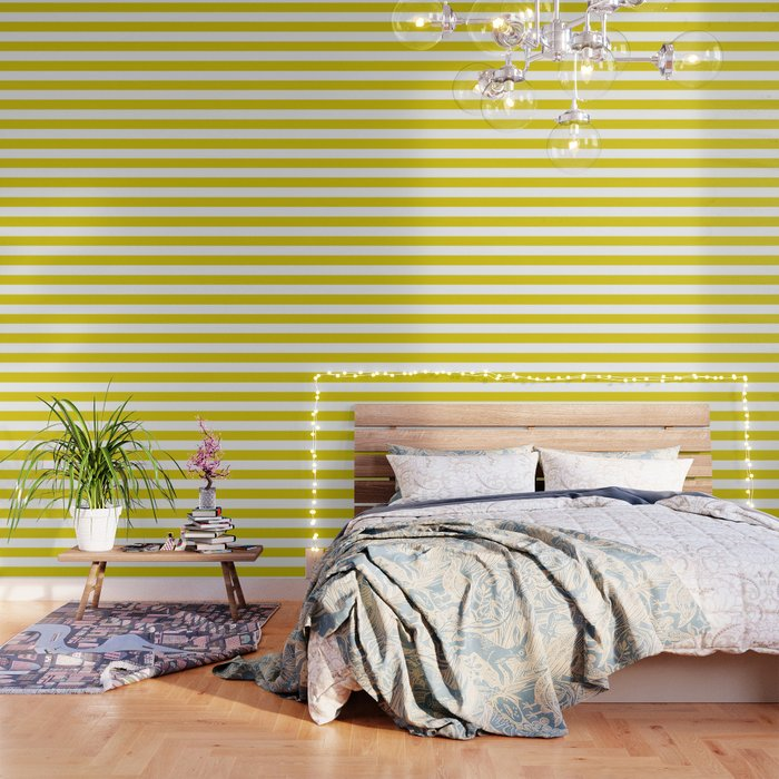 Citrine - solid color - white stripes pattern Wallpaper