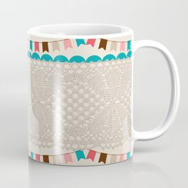Vintage elegant ivory floral lace colorful flags pattern Coffee Mug