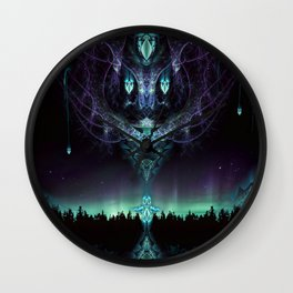 Midnight Aura - Fractal Manipulation - Manafold Art Wall Clock