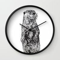 otter Wall Clocks featuring Otter by Meredith Mackworth-Praed