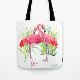 Flamingos, two flamingo birds, pink green art Tote Bag