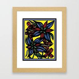 Blithe Flowers Yellow Red Blue Framed Art Print