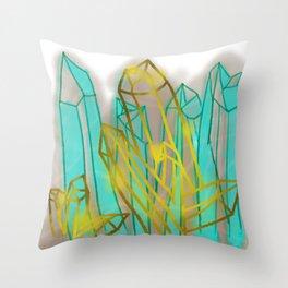 Crystals - Cyan Throw Pillow