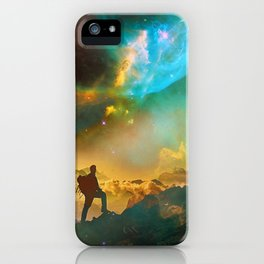 Vibrant Space Hiker iPhone Case