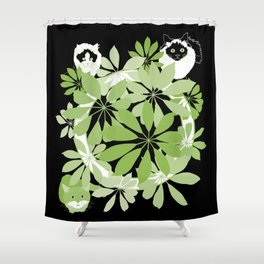 Black, white and green cats Shower Curtain