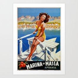 Vintage Marina di Massa Italian travel advertising Art Print