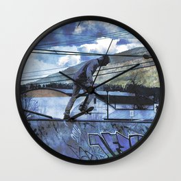 Tipping Point -Skateboarder Launching - Outdoor Sports Wall Clock
