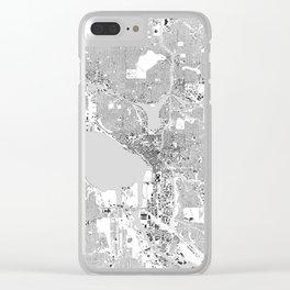 Seattle, Washington City Map, Black/White Clear iPhone Case