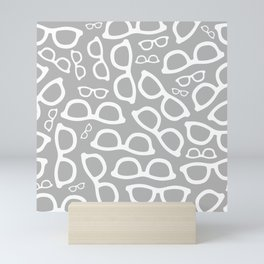Smart Glasses Pattern - Grey Mini Art Print