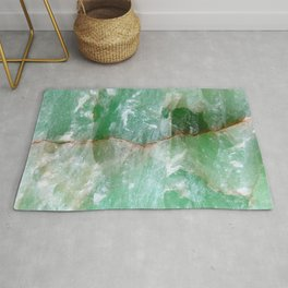 Crystalized Pale Green Quartz Slab with Copper Vein Rug