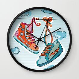 Gym Shoes on a Wire Wall Clock