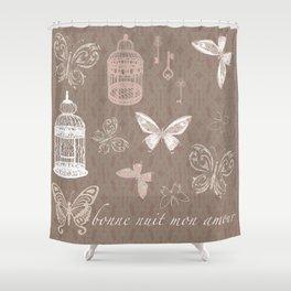 Birdcage & Butterflies Boho Illustration Shower Curtain