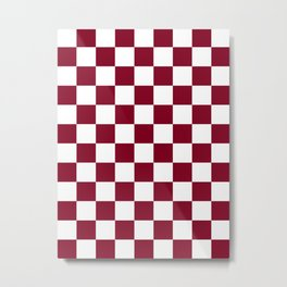 Checkered - White and Burgundy Red Metal Print