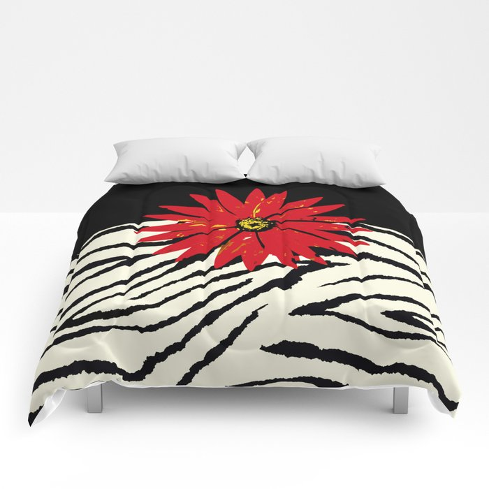 Animal Print Zebra Black And White And Red Flower Medallion