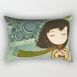 """""""Ghost figures of past, present, future haunting the heart"""" Rectangular Pillow"""