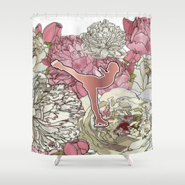 Rose Gold Figure Skater on Peonies Graphic Design Shower Curtain