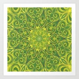 Green and Yellow center Swirl Pattern Art Print