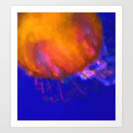 Orange Jellyfish Ocean Art  Art Print